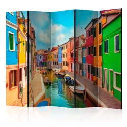 """Room Divider """" Colorful Canal in Burano II"""" (225 x 172 cm)"""