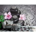 Wallpaper Mural Spa Stones with Drops and Pink Cherry Blossom Flowers (13520808)