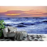 Wall Mural Blue Sea and Red sky (13717617)
