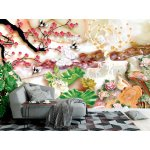 3d Mural with Golden Tree Flowers and Jewelry Background . (146626831)