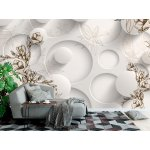 3d Wallpaper Mural with Painted Tender Flowers, White Circles, and Leaves on the Background (146651165)
