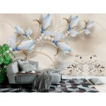 3d Modern Art Mural Wallpaper with Jewelry Flowers and White Swans (147256207)