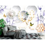 3d Mural with Flowers and Deer on the Jewelry Background (148088244)