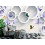 Wallpaper Mural 3d Mural with Violet Flowers, Butterflies, and White Circles on Stone Wall Background (148088471)