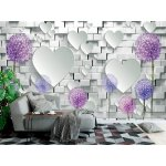 Wallpaper Mural 3d Mural Wallpaper with Decorative Flowers and White Hearts on Stone Wall Background (148088533)
