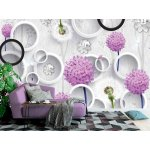 Wallpaper Mural 3d Mural Wallpaper Abstract with Silhouettes of Dandelions and Trees Pattern on Decorative Silver Background . (148900136)