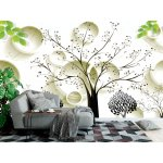 3d Mural Wallpaper with Painted Black Trees and Circles (149165518)