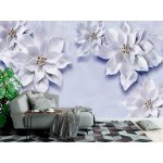 Wallpaper Mural 3d Mural Wallpaper with White Flowers and Golden Pearl Jewelry (149298091)