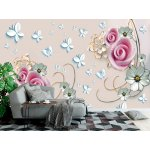 Wallpaper Mural 3d Mural with Soft Flowers on the Beige Background (149298094)