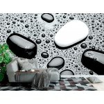 Wallpaper Mural Spa Stones of Black and White Pebbles with Water Drops (16019583)