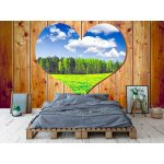 Wallpaper Mural Wooden Wall with Heart (18312836)