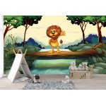 Wallpaper Mural Featuring a Lion Standing on the Trunk Above the Flowing River (18610882)