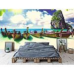 Wallpaper Mural Long Tail Boat on Tropical Beach on Krabi (Thailand)
