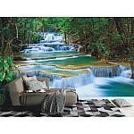 Wall mural deep forest waterfall