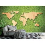 Wall Mural Wood World Map on Green Grass Background (33099983)