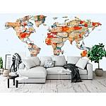 Wallpaper Mural Brick Wall World Map (35981059)