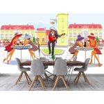 Vintage sketch-style mural people and musicians in the old city