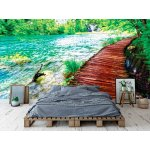 Wall mural wooden path in national park of Plitvice