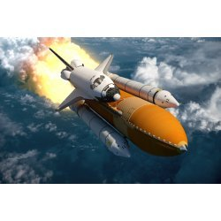 3D Wallpaper Mural Space Shuttle Flying over the Clouds (48989303)