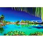 Photo Wall Mural Tropical Resort with a Green Lagoon and Palm Trees