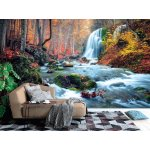 Photo wall mural silver stream waterfall in grand canyon of Crimea