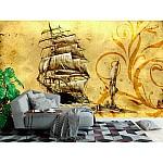 Wall mural sea boat art design drawing