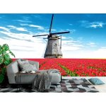 Wall Mural Vibrant Tulips Field With Dutch Windmill