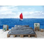 Wallpaper Mural Red Sail Boat at the Harbour in Russell (New Zealand)