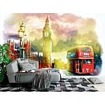 Wallpaper Mural Watercolor Hand Drawn London City View (68270505)