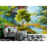 Wallpaper Mural Flowers And Trees By River