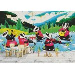 Wall mural funny badgers playing music