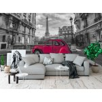 Photo wall mural Eiffel tower and red car