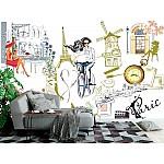 Wallpaper Mural Sketch-style Fashion Girl in Paris (92848206)