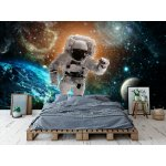 3D Wallpaper Mural Astronaut Flies Over the Earth in Space (97108400)