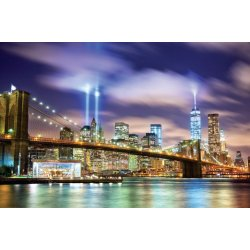 Photo wall mural Brooklyn bridge and the towers of lights