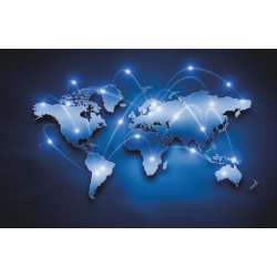 Wall mural digital world map with connection lines