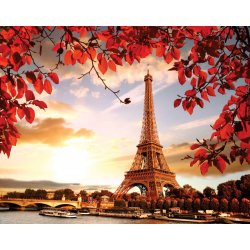 Photo wall mural Eiffel tower with autumn leaves
