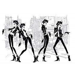 Photo wall mural four fashion women in new York