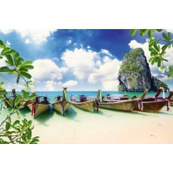 Wallpaper Mural Long Tail Boat on Tropical Beach With Limestone Rock in Krabi (Thailand)