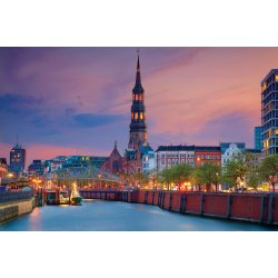 Photo wall mural featuring Hamburg during twilight blue hour (58637781)