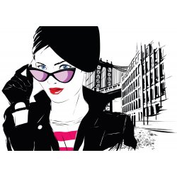 Photo wall mural fashion girl in sketch-art-style