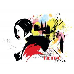 Photo wall mural fashion girl in sketch-style