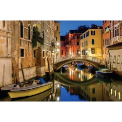 Wall mural night lateral canal and bridge in Venice