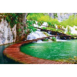 Wall mural wooden path in Plitvice national park in Croatia