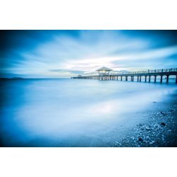 Wall mural wooden jetty during sunrise