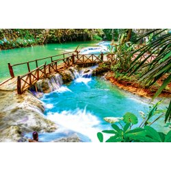 Photo Wall Mural Turquoise Water of Kuang Si Cascade Waterfall in Laos