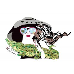 Wallpaper Mural Beautiful Fashion Girl With a Crocodile Pet (126056353)
