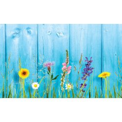 Wall mural wild flowers on wooden wall