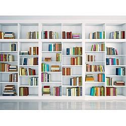 Wallpaper Mural White Bookshelves (53058405)
