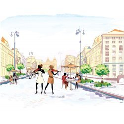 Vintage sketch-style street view wall mural with musicians